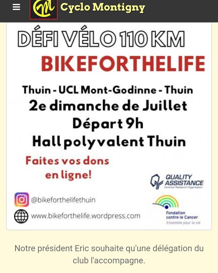 Défi vélo 110 km Thuin-Godinne-Thuin : RDV le 12 Juillet