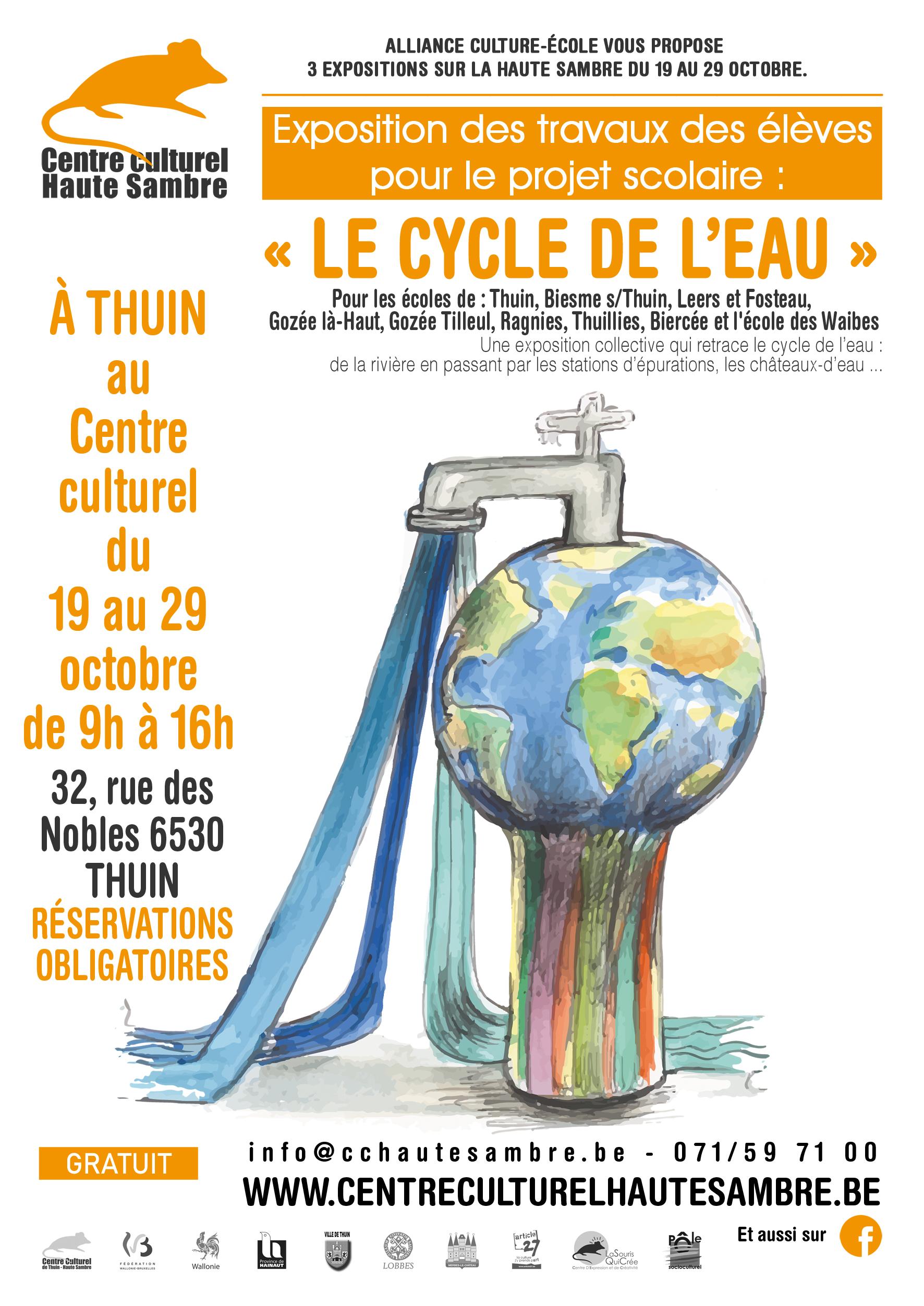 exposition des travaux des élèves de 3ème, 4ème et 5ème primaire pour le projet scolaire « le cycle de l'eau » à Thuin