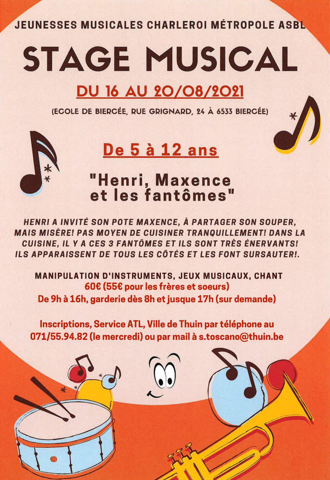 STAGE MUSICAL à Biercée pour les 5-12 ans du 16 au 20 août 2021.