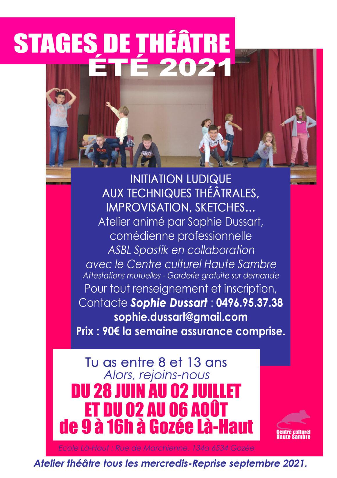 2 Stages de théâtre pour les enfants de 8 à 13 ans à Gozée