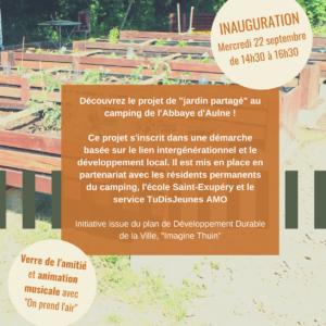 Invitation à l'inauguration du projet «Imagine Thuin» au camping de l'Abbaye d'Aulne.